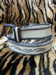KILLER 50s ROCKABILLY LEATHER BELT- SIZE 105 -AMAZING DESIGN - TOP QUALITY - VLV - WHITE & BLUE